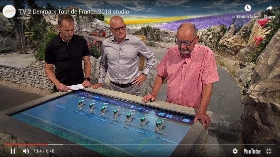The use of AR, Tour de France 2018 recreated in the studios of TV 2, Denmark. https://www.youtube.com/watch?v=8kmVI75_DdY&feature=emb_title