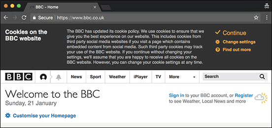 a cookie pop up on BBC website, compliant of privacy policy