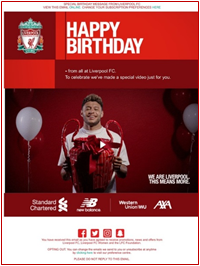 An example of a digital birthday card from Liverpool FC.